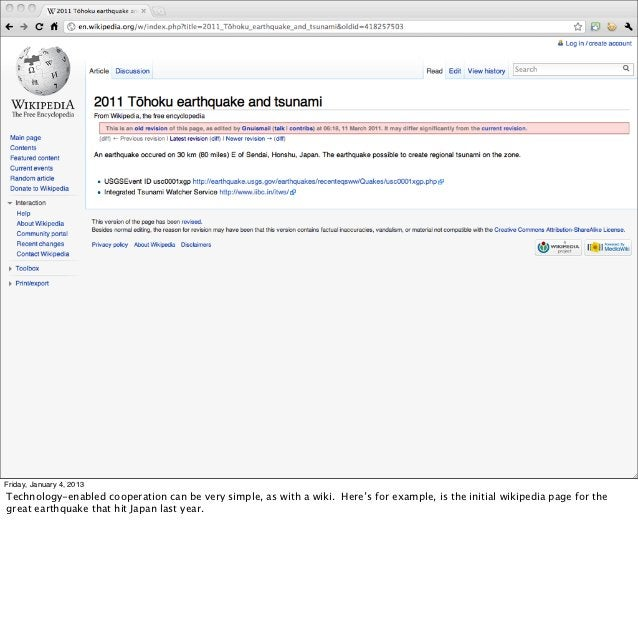 Friday, January 4, 2013Technology-enabled cooperation can be very simple, as with a wiki. Here's for example, is the initi...