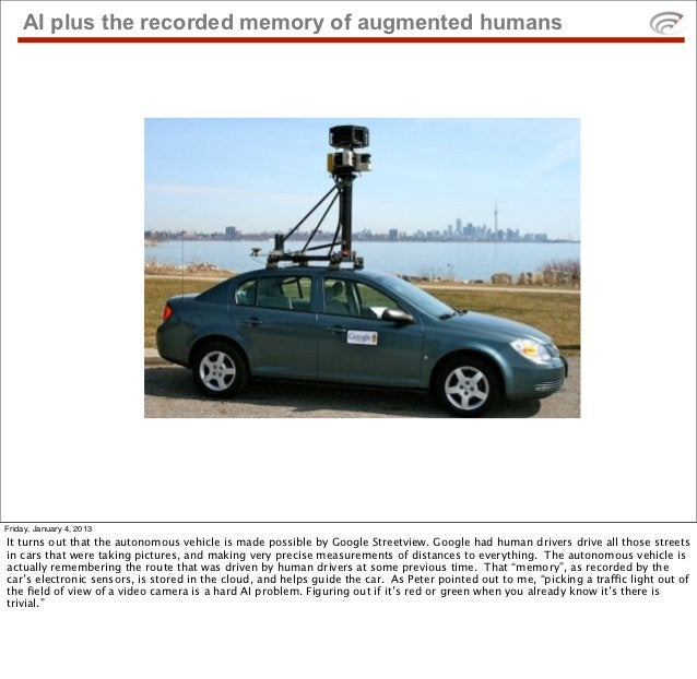AI plus the recorded memory of augmented humansFriday, January 4, 2013It turns out that the autonomous vehicle is made pos...
