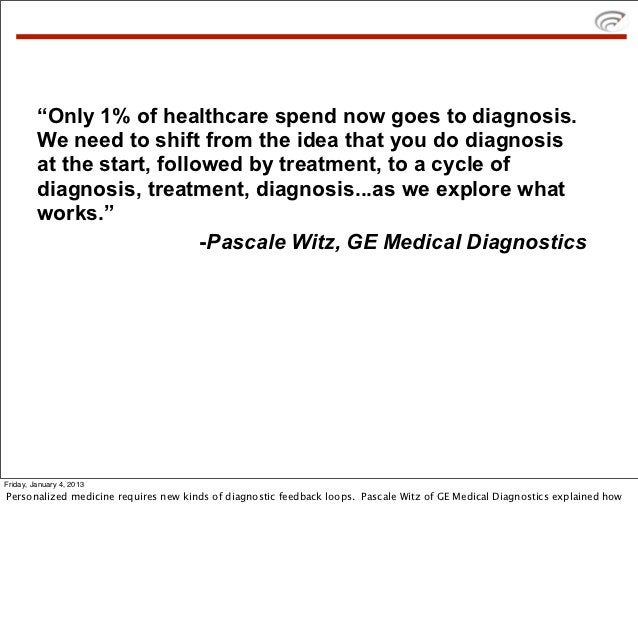 """""""Only 1% of healthcare spend now goes to diagnosis.         We need to shift from the idea that you do diagnosis         a..."""