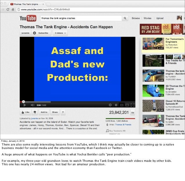 Friday, January 4, 2013There are also some really interesting lessons from YouTube, which I think may actually be closer t...