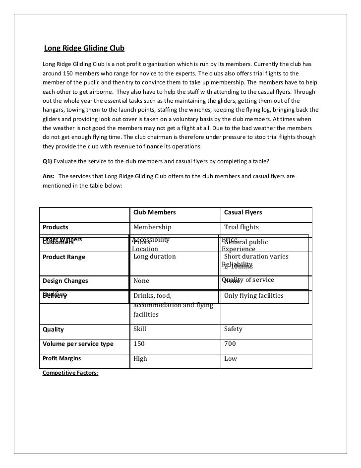 case study of long ridge gliding club uk English (uk) document: ms word date:  operations management: case  study - long ridge gliding club (essay sample) instructions: 1.