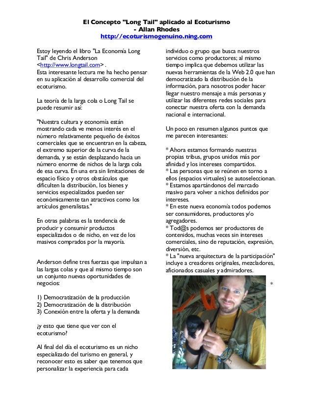 """El Concepto """"Long Tail"""" aplicado al Ecoturismo - Allan Rhodes http://ecoturismogenuino.ning.com    Estoy leyendo el libr..."""