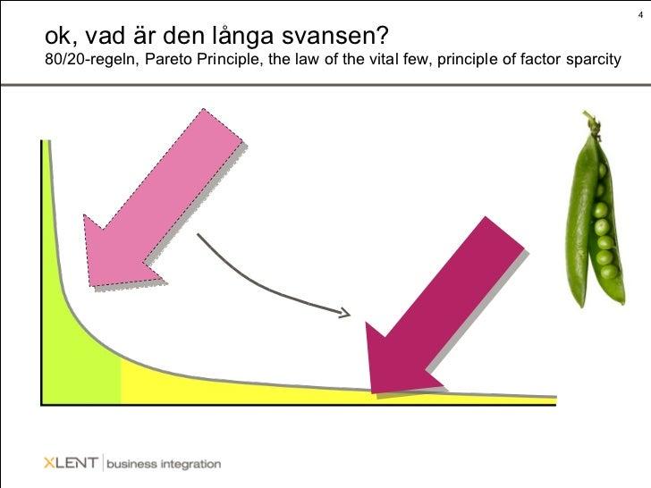 ok, vad är den långa svansen? 80/20-regeln, Pareto Principle, the law of the vital few, principle of factor sparcity