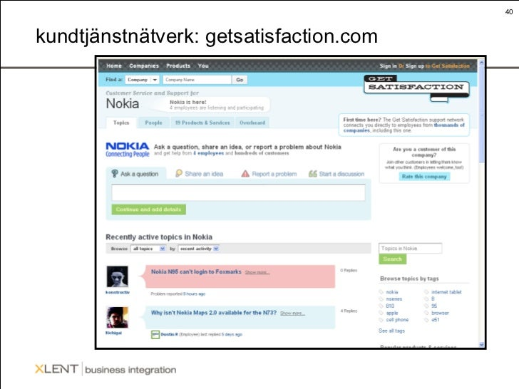 kundtjänstnätverk: getsatisfaction.com