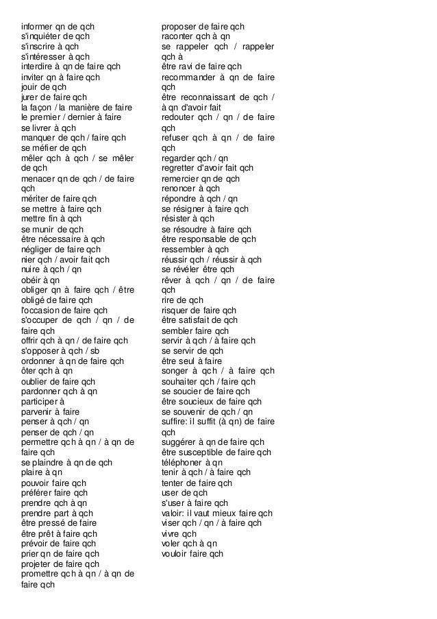 Longue Liste Verbes A Prepositions