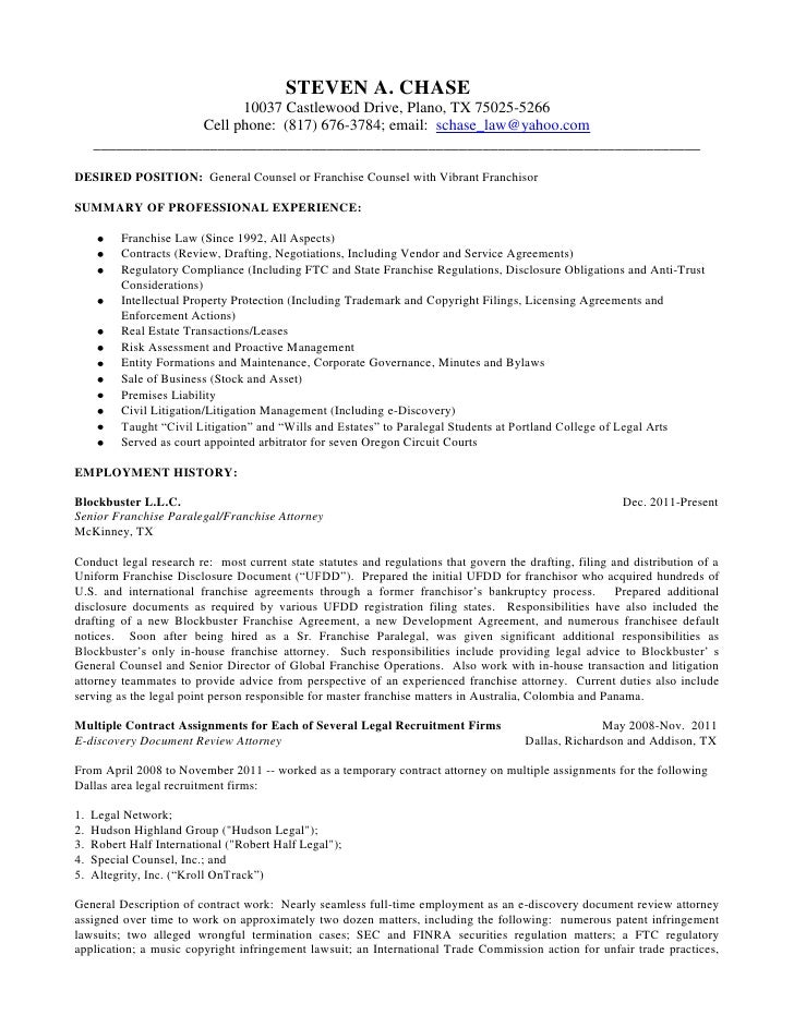 long version resume of steven chase april 24 2012 word 2007 - Attorney Resume