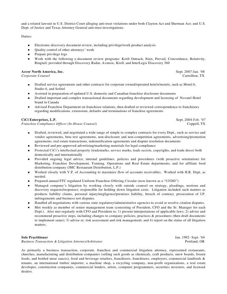 long version resume of steven chase april 24 2012 word 2007 - Commercial Law Attorney Resume