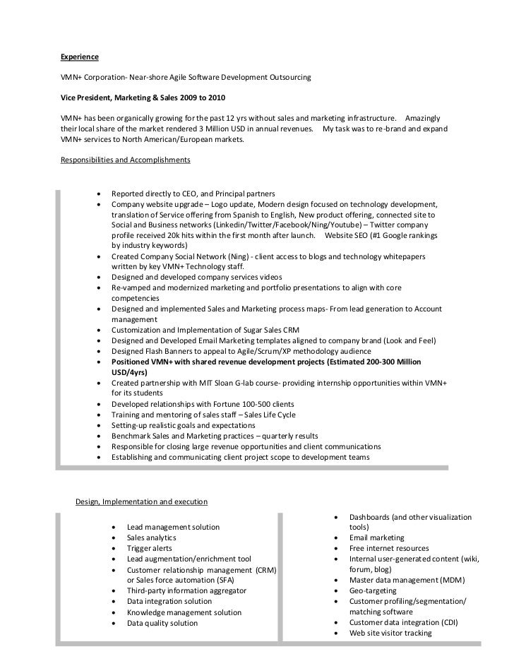 Vice President Marketing Resume  Sales Marketing Resume