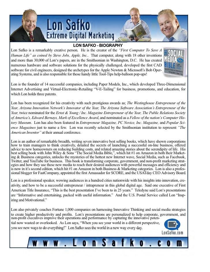 Lon Safko                       Extreme Digital Marketing                                           LON SAFKO - BIOGRAPHYL...