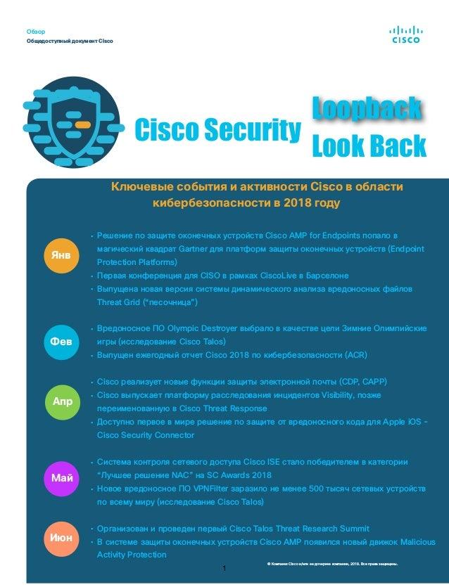 Ключевые события и активности Cisco в области кибербезопасности в 2018 году • Решение по защите оконечных устройств Cisco ...