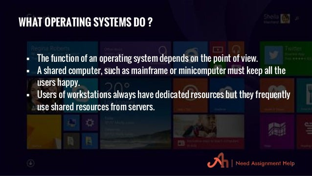 operating system assignment Functions of operating systems operating system assignment, project and os homework help functions of operating systems assignment help introduction a computer system os handles the software application and hardware resources on a computer syst.