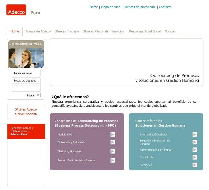 Intermediación Laboral Home  |  Mapa de Sitio  |  Politícas  de  privacidad  |  Contacto   Perú Home Acerca de Adecco ¿Bu...