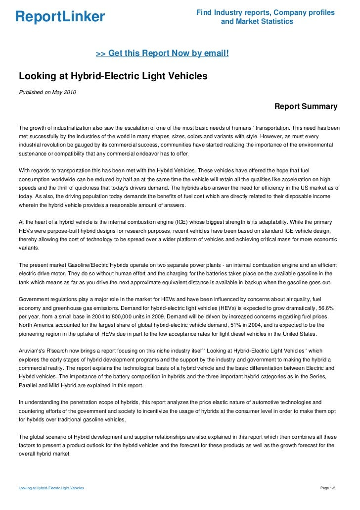 Looking at Hybrid-Electric Light Vehicles
