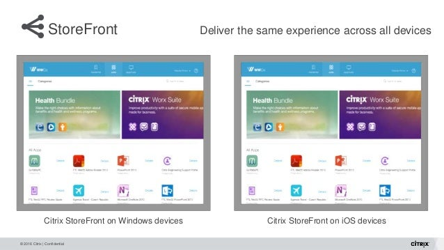 © 2016 Citrix | Confidential StoreFront Deliver the same experience across all devices Citrix StoreFront on Windows device...
