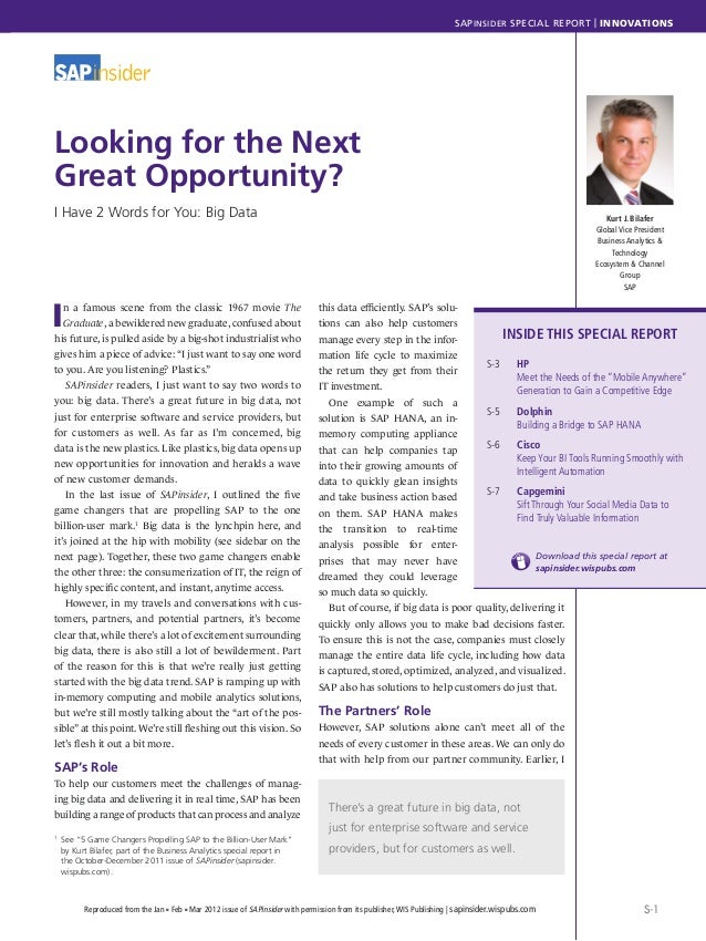 SAPINSIDER SPECIAL REPORT | INNOVATIONSS-1Reproduced from the Jan n Feb n Mar 2012 issue of SAPinsider with permission fro...