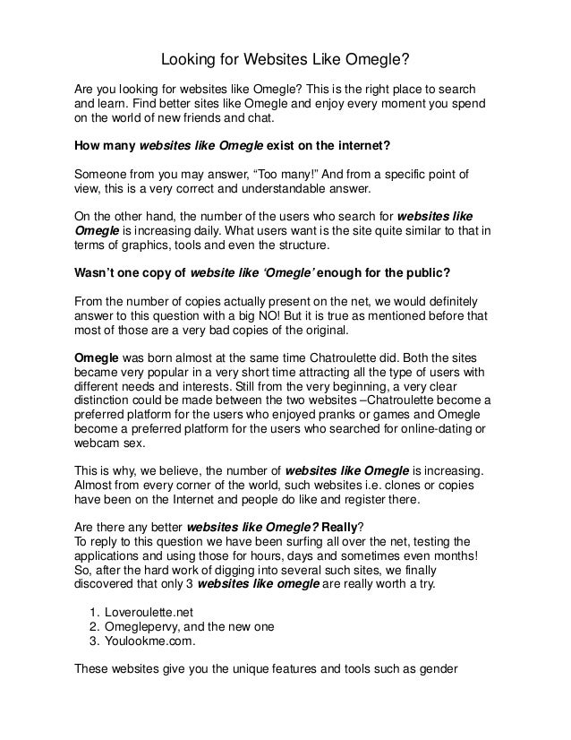 Sites like omegle but for adults