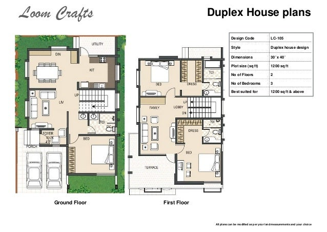 Loom crafts home Duplex house plans indian style