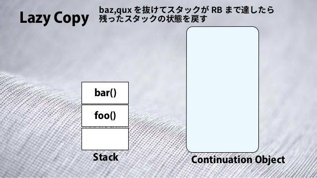 Lazy Copy Stack Continuation Object baz,qux を抜けてスタックが RB まで達したら 残ったスタックの状態を戻す foo() bar()
