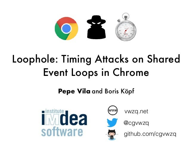 Loophole: Timing Attacks on Shared Event Loops in Chrome Pepe Vila and Boris Köpf vwzq.net @cgvwzq github.com/cgvwzq