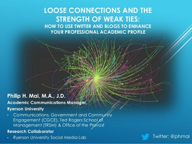 LOOSE CONNECTIONS AND THE STRENGTH OF WEAK TIES: HOW TO USE TWITTER AND BLOGS TO ENHANCE YOUR PROFESSIONAL ACADEMIC PROFIL...