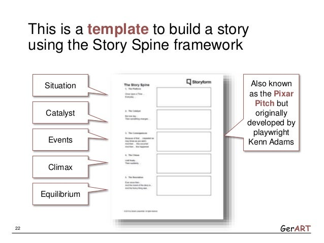 GerART This is a template to build a story using the Story Spine framework 22 Situation Catalyst Events Climax Equilibrium...