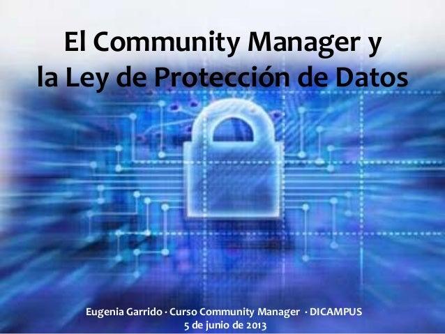El Community Manager yla Ley de Protección de DatosEugenia Garrido · Curso Community Manager · DICAMPUS5 de junio de 2013