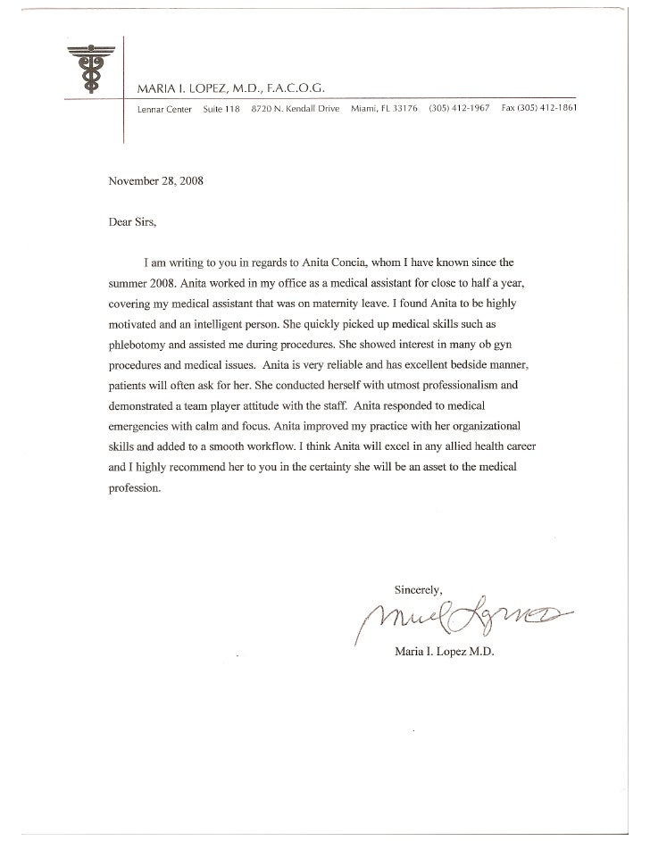 letter of recommendation for medical assistant - Template