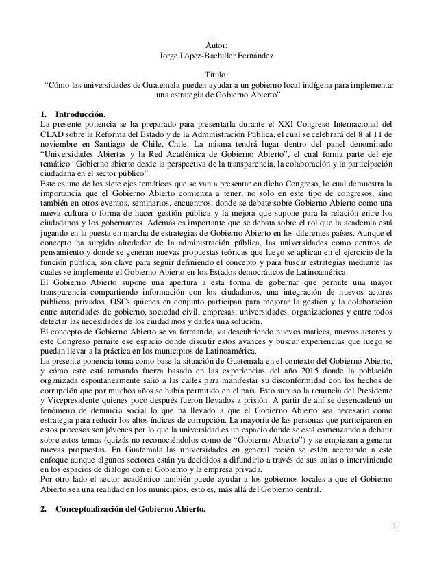 """Autor: Jorge López-Bachiller Fernández Título: """"Cómo las universidades de Guatemala pueden ayudar a un gobierno local indí..."""