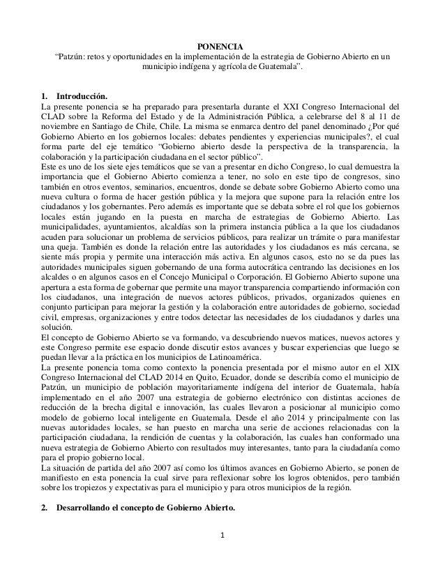 """PONENCIA """"Patzún: retos y oportunidades en la implementación de la estrategia de Gobierno Abierto en un municipio indígena..."""