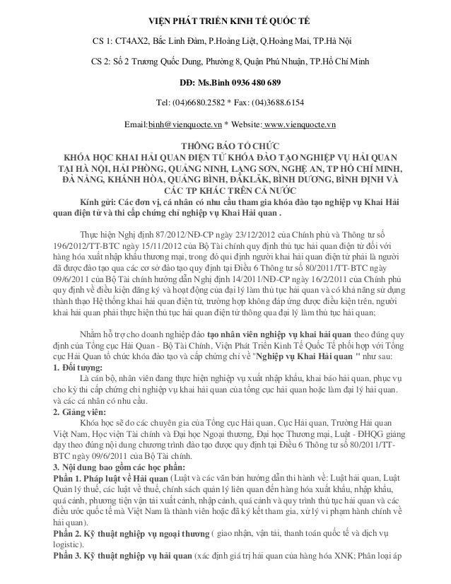 VIỆN PHÁT TRIỂN KINH TẾ QUỐC TẾ CS 1: CT4AX2, Bắc Linh Đàm, P.Hoàng Liệt, Q.Hoàng Mai, TP.Hà Nội CS 2: Số 2 Trương Quốc Du...