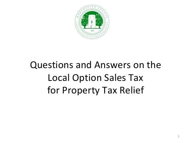 QuestionsandAnswersonthe LocalOptionSalesTax forPropertyTaxRelief 1