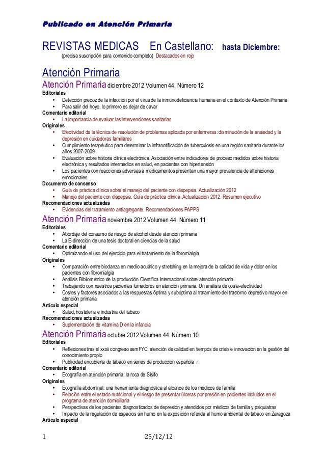 Publicado en Atención PrimariaREVISTAS MEDICAS En Castellano:                                                         hast...