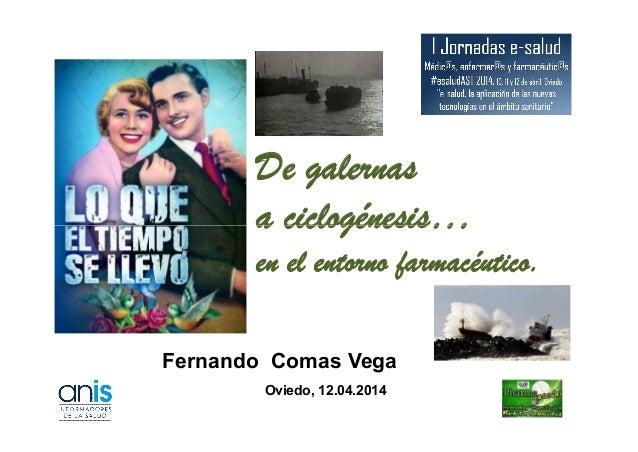 De galernas a ciclogénesis… Fernando Comas Vega Oviedo, 12.04.2014 a ciclogénesis… en el entorno farmacéutico.