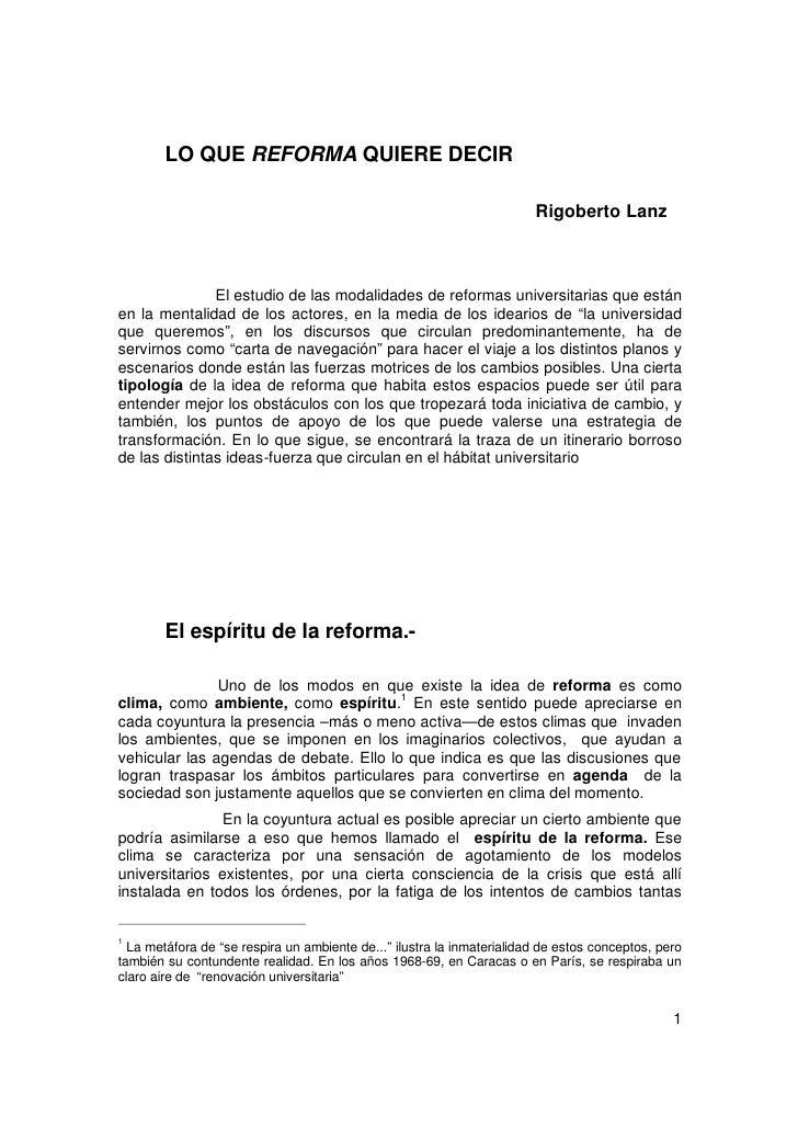 LO QUE REFORMA QUIERE DECIR                                                                       Rigoberto Lanz          ...