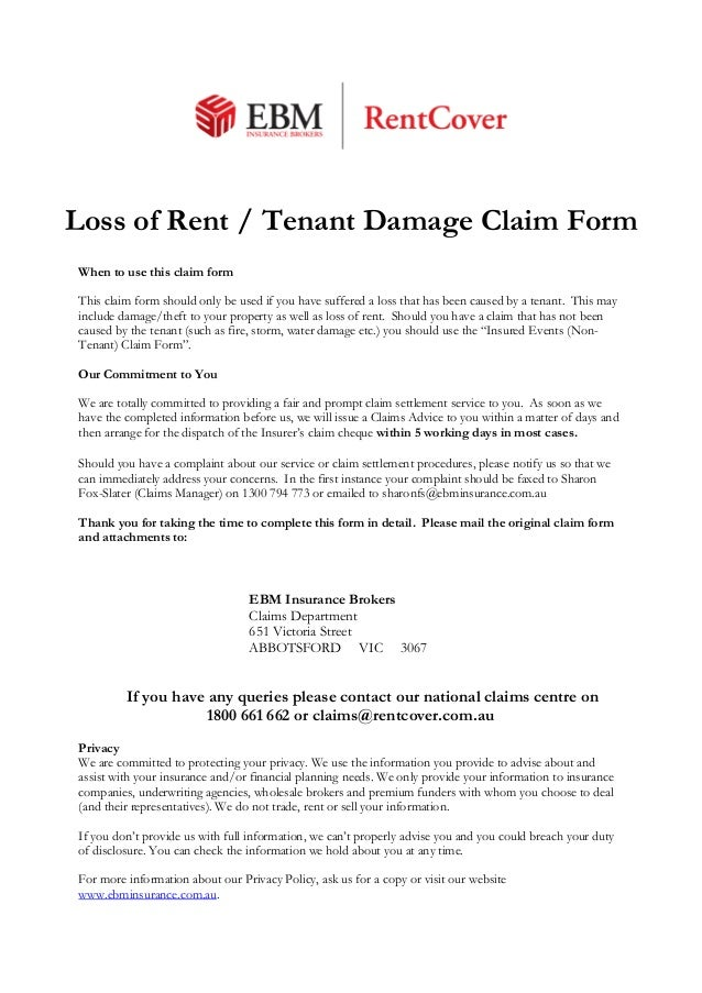 Loss Of Rent, Tenant-Damage-Claim-Form