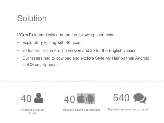 L'Oréal's team decided to run the following user tests: • Exploratory testing with 40 users. • 20 testers for the French v...