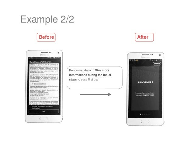 Recommandation : Give more informations during the initial steps to ease first use Example 2/2 Before After
