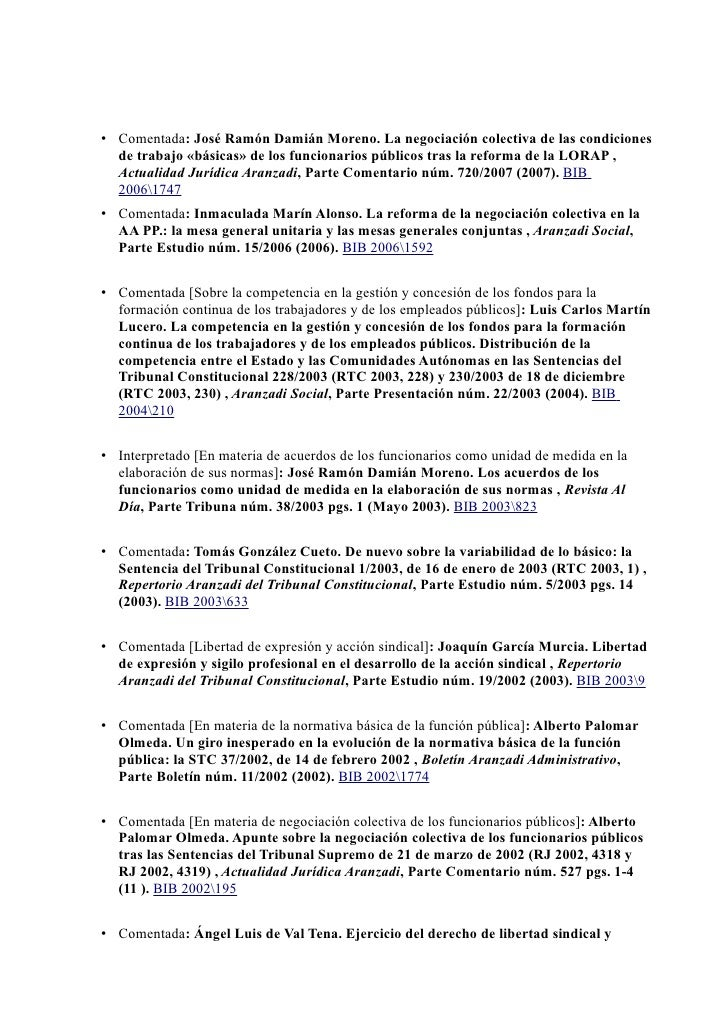 Bibliografía       • Comentada: José Ramón Damián Moreno. La negociación colectiva de las condiciones        de trabajo «b...