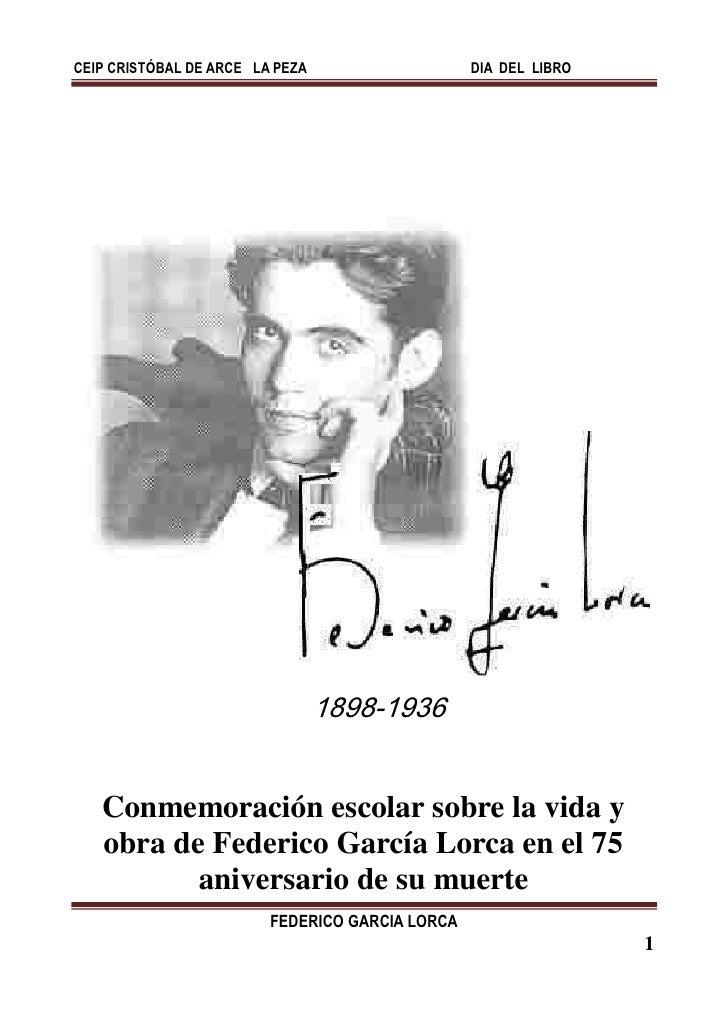 CEIP CRISTÓBAL DE ARCE LA PEZA                   DIA DEL LIBRO                                 1898-1936   Conmemoración e...