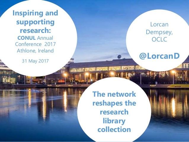 Lorcan Dempsey, OCLC @LorcanD The network reshapes the research library collection Inspiring and supporting research: CONU...