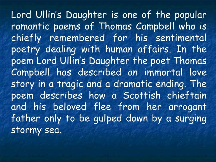 lord ullins daughter Extramarks provides study material for cbse 9 english-a-lord ullin's daughter also browse sample question paper, worksheets, notes, e learning videos, cbse class 9 worksheets for each topic to score high in exams.