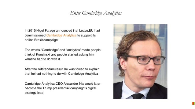 In 2015 Nigel Farage announced that Leave.EU had commissioned Cambridge Analytica to support its online Brexit campaign Th...