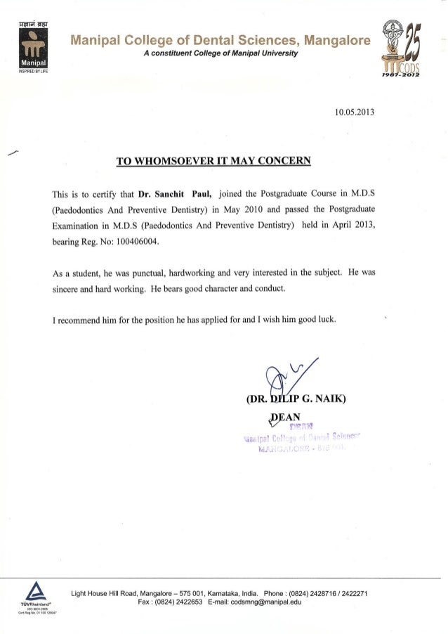 Letter Of Recommendation From Dean Manipal College Of Dental Science