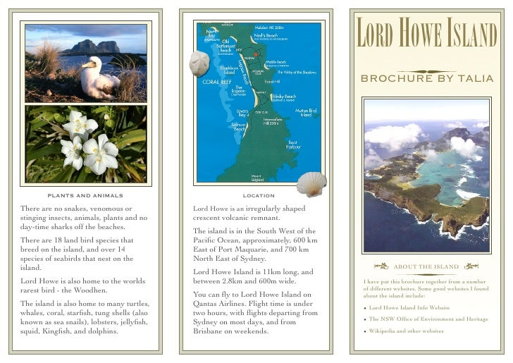 Lord howe island project brochure for Brochure templates for school project