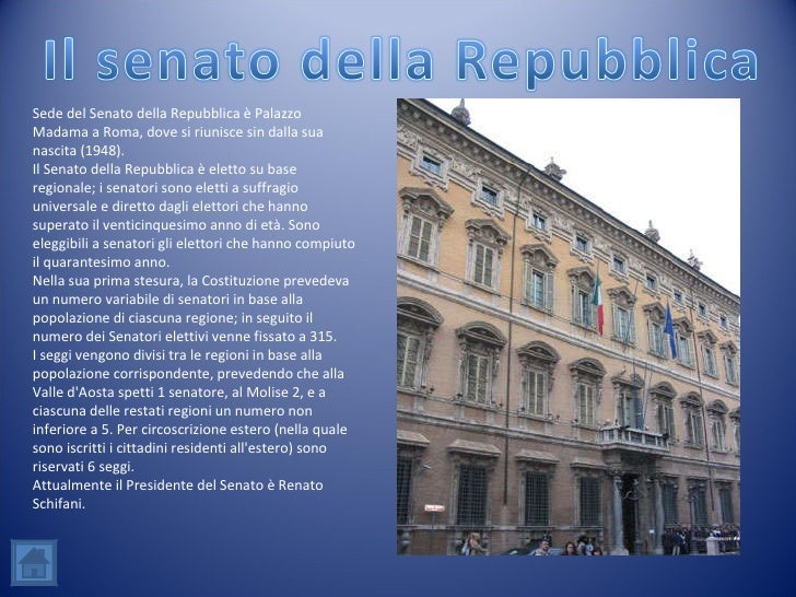 L 39 ordinamento della repubblica italiana for Senato della repubblica sede