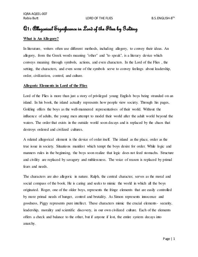 lord of the flies iqra aqeel 007 rabia butt lord of the flies b s english 8th page
