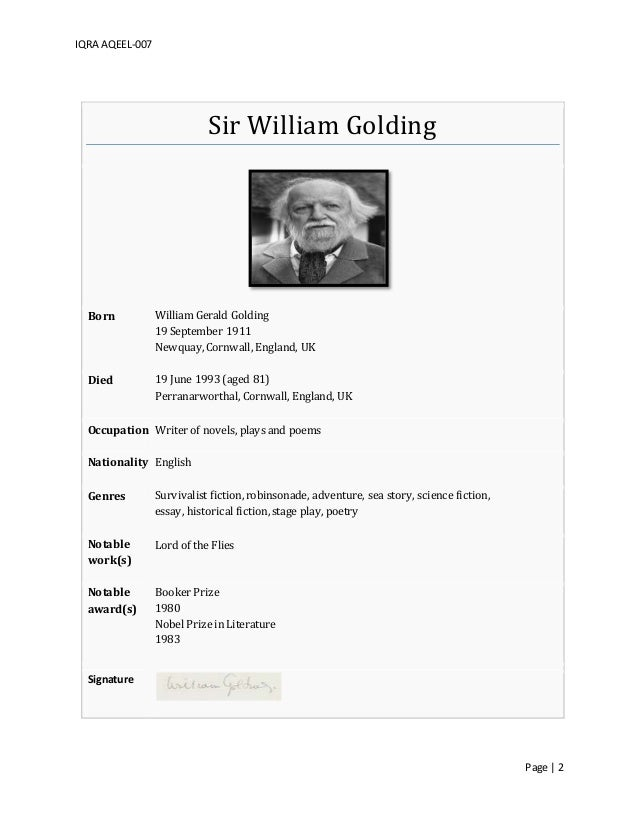 Essays william golding