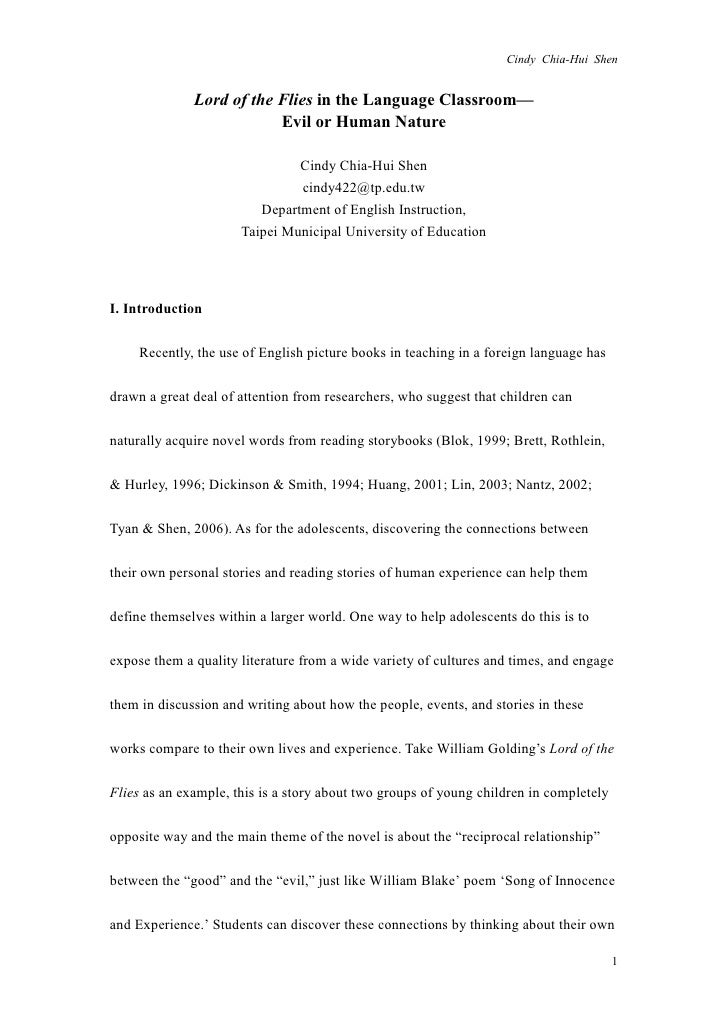 Essays About Health Care Cindy Chiahui Shen Lord Of The Flies In The Language Classroom  Examples Of A Thesis Statement For An Essay also Harvard Business School Essay Lord Of The Flies In The Language Classroomevil Or Human Nature English As A Global Language Essay