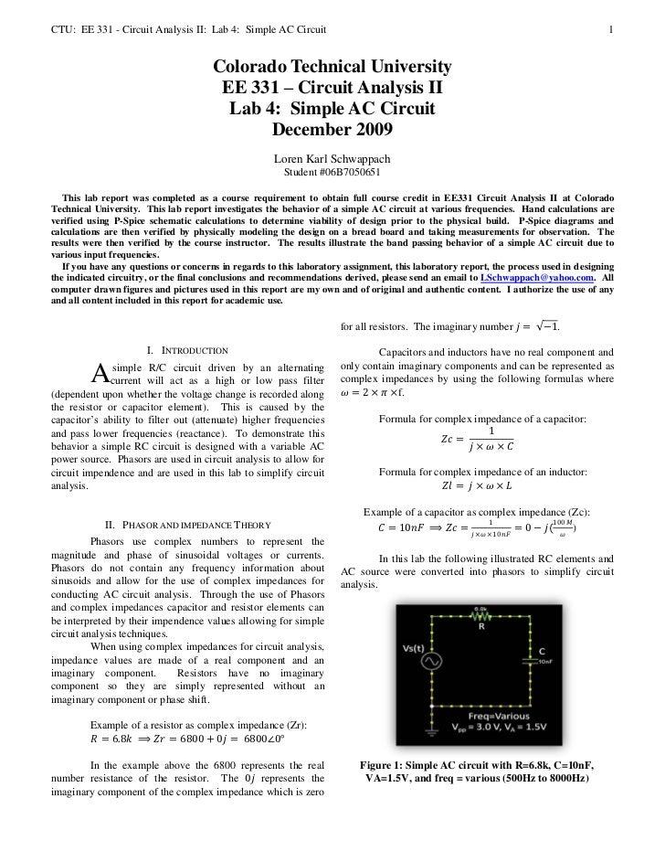 CTU: EE 331 - Circuit Analysis II: Lab 4: Simple AC Circuit                                                               ...