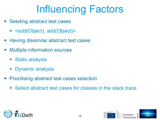 Influencing Factors • Seeding abstract test cases • <add(Object), add(Object)> • Having dissimilar abstract test cases • M...